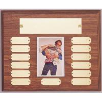 Walnut Finish Perpetual Plaque with Photo Holder - Horizontal